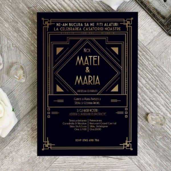 Invitatie Art Deco 2 uniquecards.ro