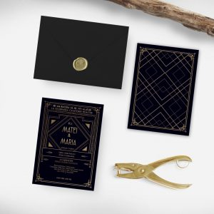 Invitatie Art Deco uniquecards.ro