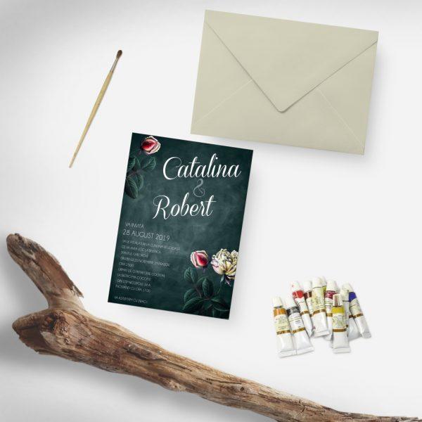 Invitatie Black Rose uniquecards.ro