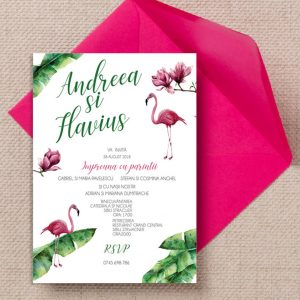 Invitatie Flamingo uniquecards.ro