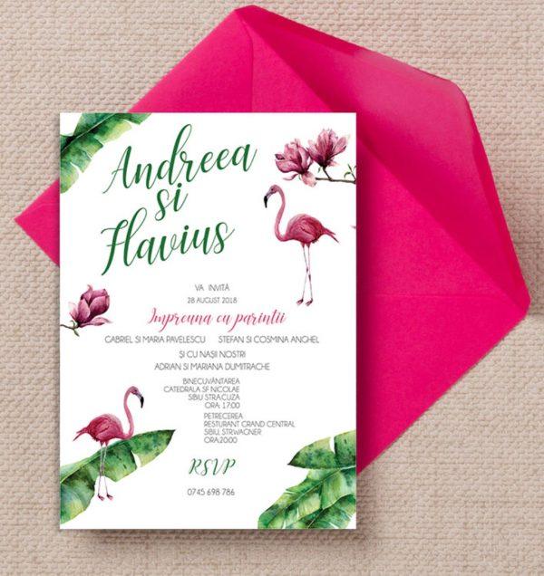 Invitatie Flamingo uniquecards.ro