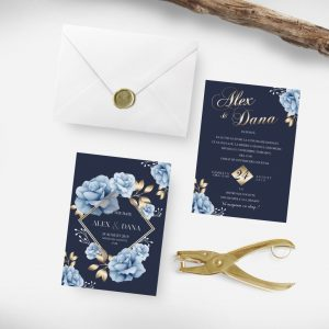 Invitatie Golden Moments uniquecards.ro