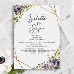 Invitatie Golden flowers uniquecards.ro