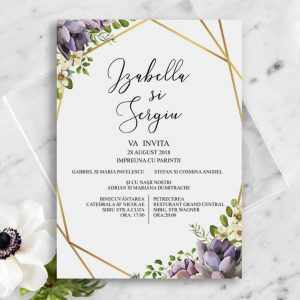 Invitatie Golden flowers uniquecards.ro