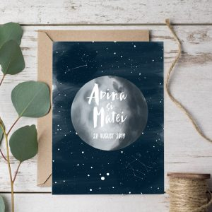 Invitatie Moon and Back uniquecards.ro