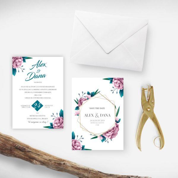 Invitatie Pink Gold uniquecards.ro