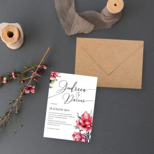Invitatie White uniquecards.ro Floral