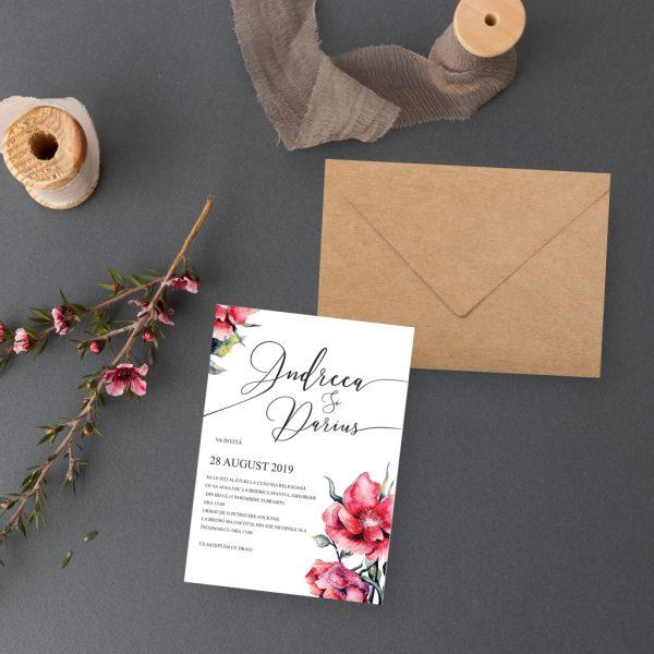 Invitatie White uniquecards.ro Floral