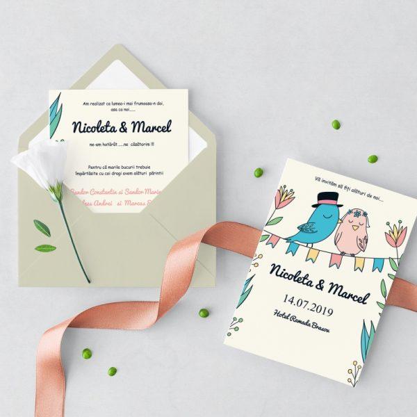 Invitatie Spring Birds uniquecards