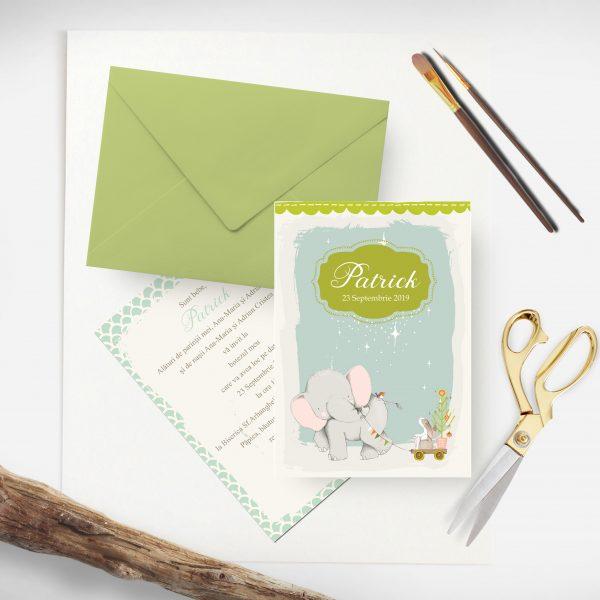 Invitatie Botez Elefantel uniquecards.ro
