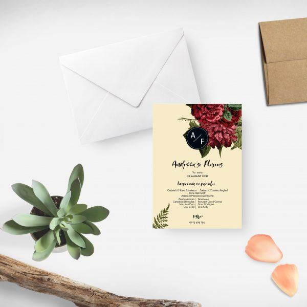 Invitatie Burgundy Rose 1 uniquecards.ro