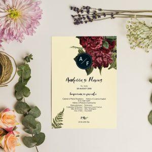 Invitatie Burgundy Rose 2 uniquecards.ro
