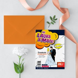 Invitatie Comic Book uniquecards.ro