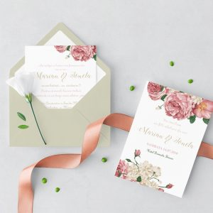 Invitatie Gold Rose uniquecards.ro