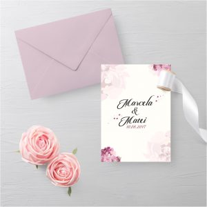 Invitatie Pink Petals1 uniquecards.ro