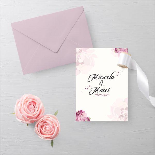 Invitatie Pink Petals1 uniquecards.ro