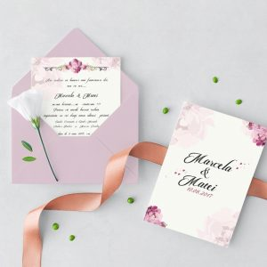 Invitatie Pink Petals2 uniquecards.ro