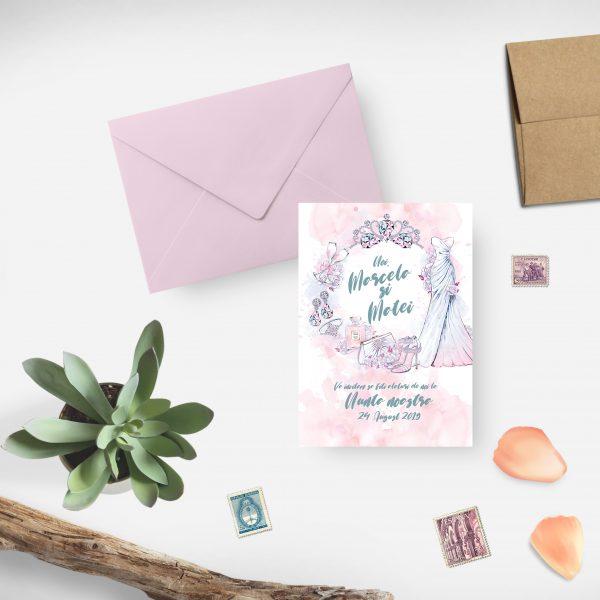 Invitatie Princess Pink uniquecards.ro