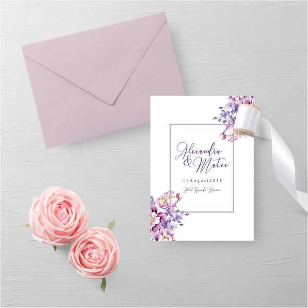 Invitatie Purple Flowers 1 uniquecards.ro