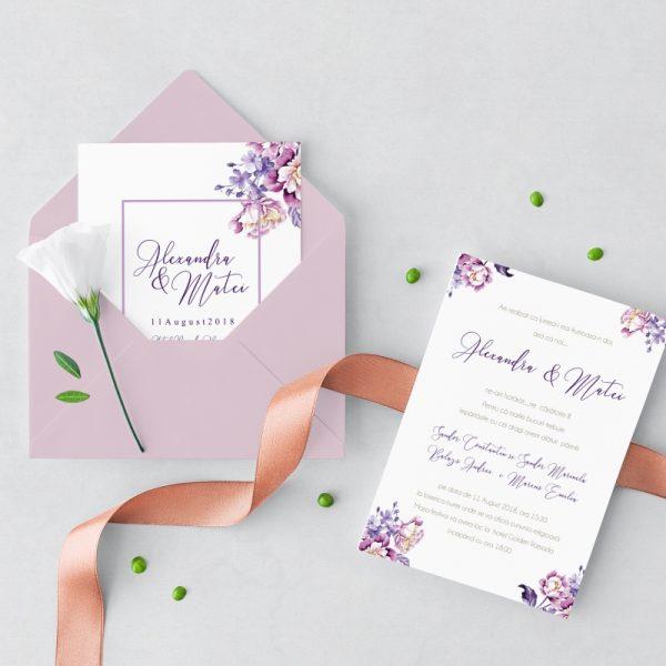 Invitatie Purple Flowers 2 uniquecards.ro