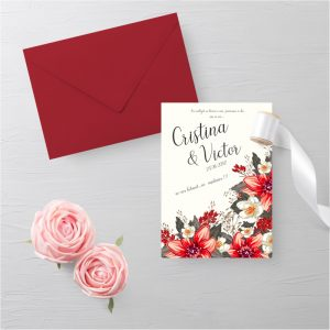 Invitatie Red Floral 2 uniquecards.ro