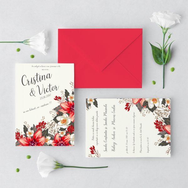 Invitatie Red Floral uniquecards.ro