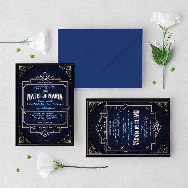 Invitatie Retro Art Deco 2 uniquecards.ro
