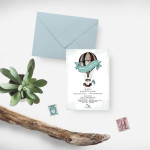 Invitatie Vintage balloon uniquecards.ro