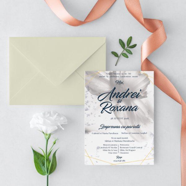 Invitatie White Petals Alb Sidef 1 uniquecards.ro