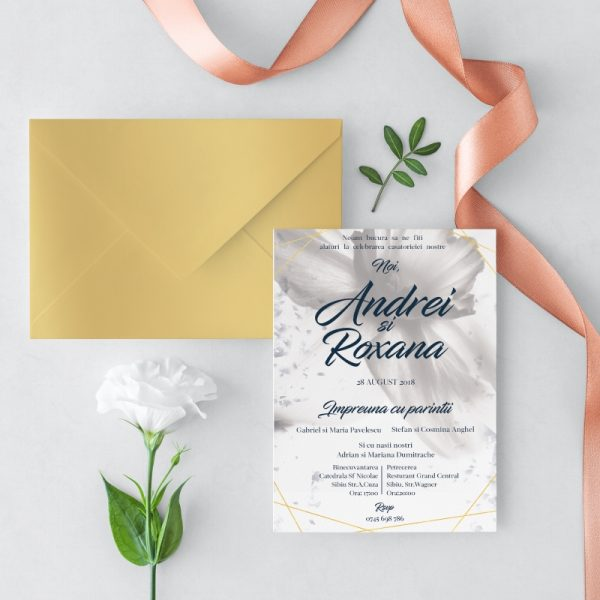Invitatie White Petals Auriu 2 uniquecards.ro